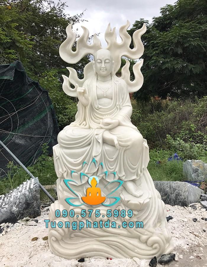 Tượng Phật Địa Tạng Tọa Sen Bằng Đá