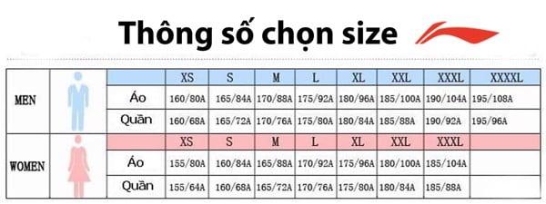 Thông số chọn size LiNing