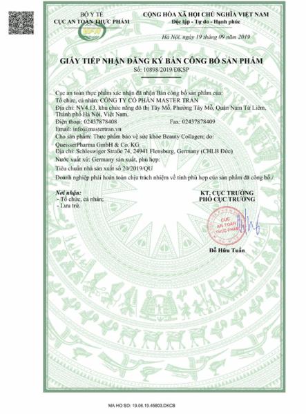 Beauty Collagen Doppelherz giấy chứng nhận an toàn