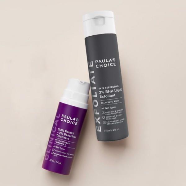 Sử dụng combo BHA + Retinol và Bakuchiol sau bước làm sạch da
