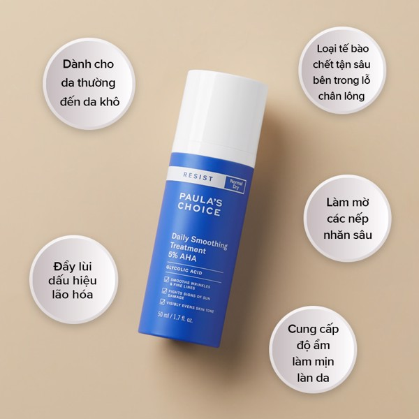 Loại bỏ tế bào chết Resist Daily Smoothing Treatment With 5% AHA