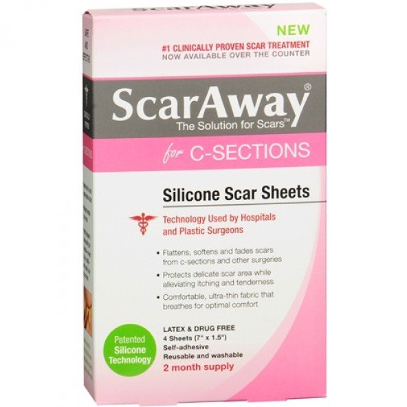 Miếng dán trị sẹo ScarAway for C-Sections Silicone Scar Sheets 4 miếng