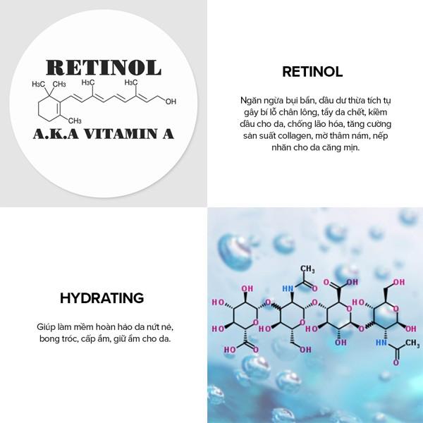 Thành phần bao gồm chất chống oxy hóa và Retinol