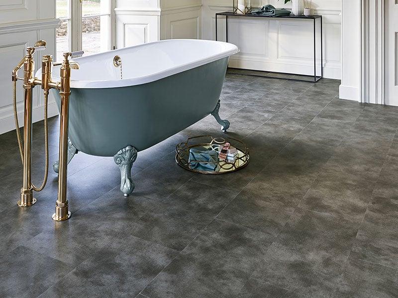 Ứng dụng sàn nhựa hèm khóa vân đá cho nhà tắm