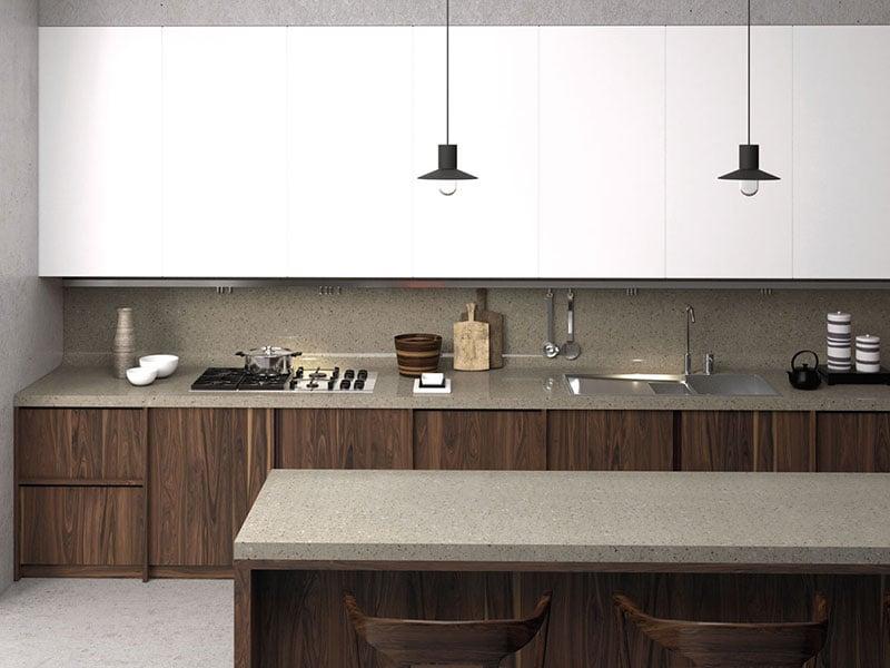 ứng dụng đá acrylic solid surface LG Hausys vào mặt bàn bếp