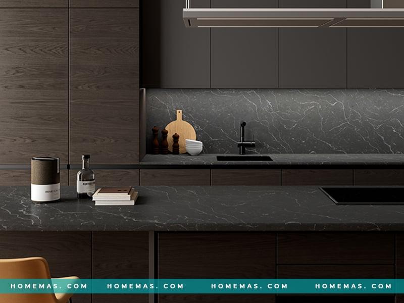 Những mẫu đá ốp bếp đen sang trọng cho không gian bếp