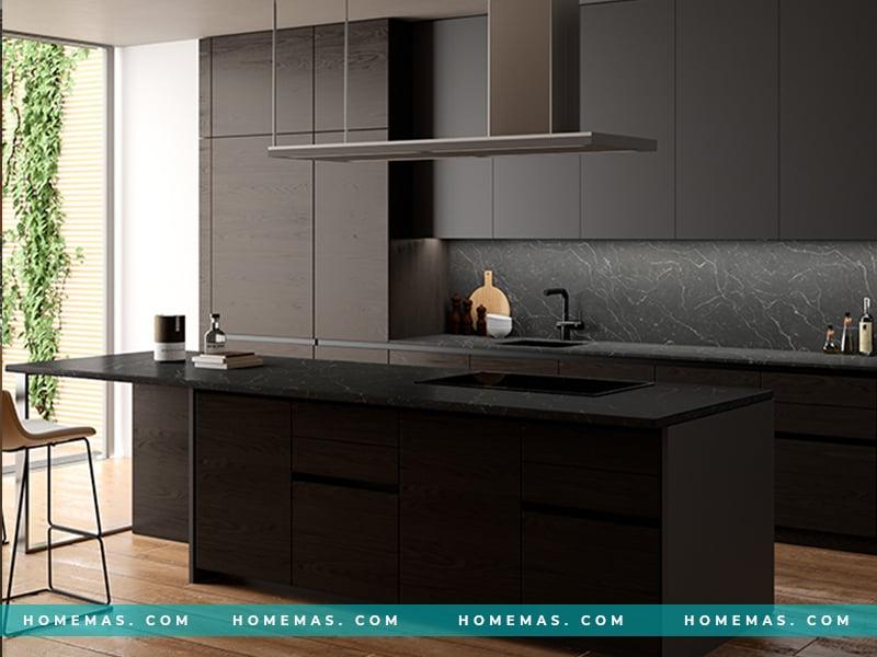 Mẫu đá ốp bếp màu đen sang trọng từ thương hiệu LG Hàn Quốc
