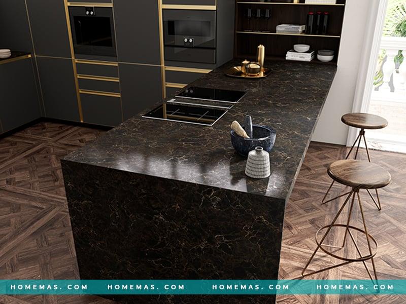 Những mẫu đá ốp bếp đen cho không gian bếp ấn tượng