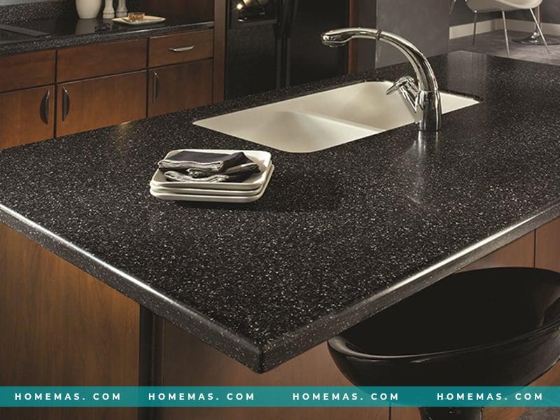 Đá ốp bếp màu đen VB01 Merapi