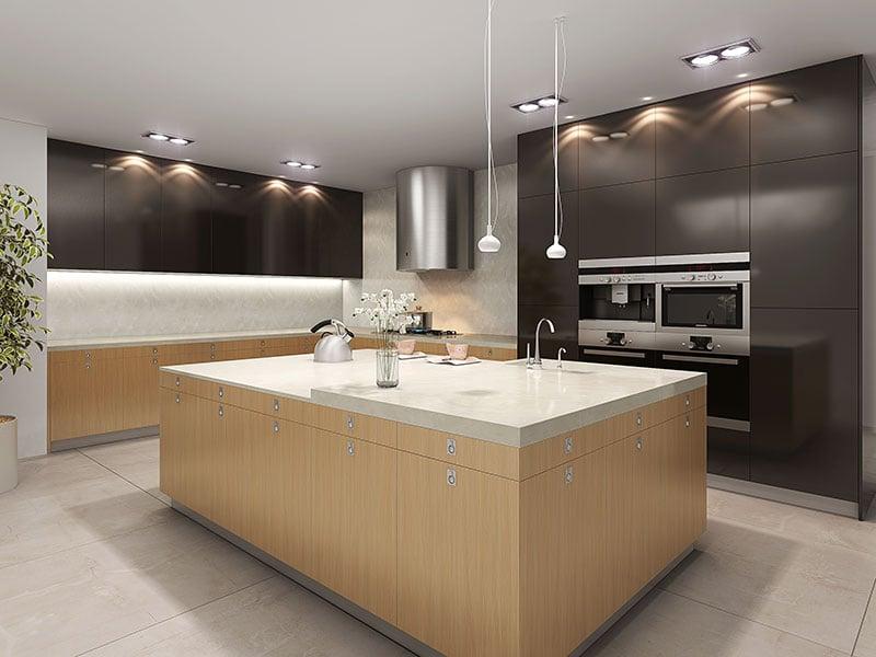 Ứng dụng đá nhân tạo Solid Surface vào không gian bếp