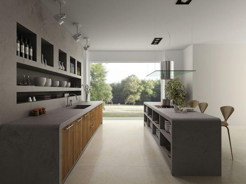 Đảo bếp bằng đá nhân tạo HI-MACS có thể thiết kế với cùng tông màu nền của không gian nấu nướng