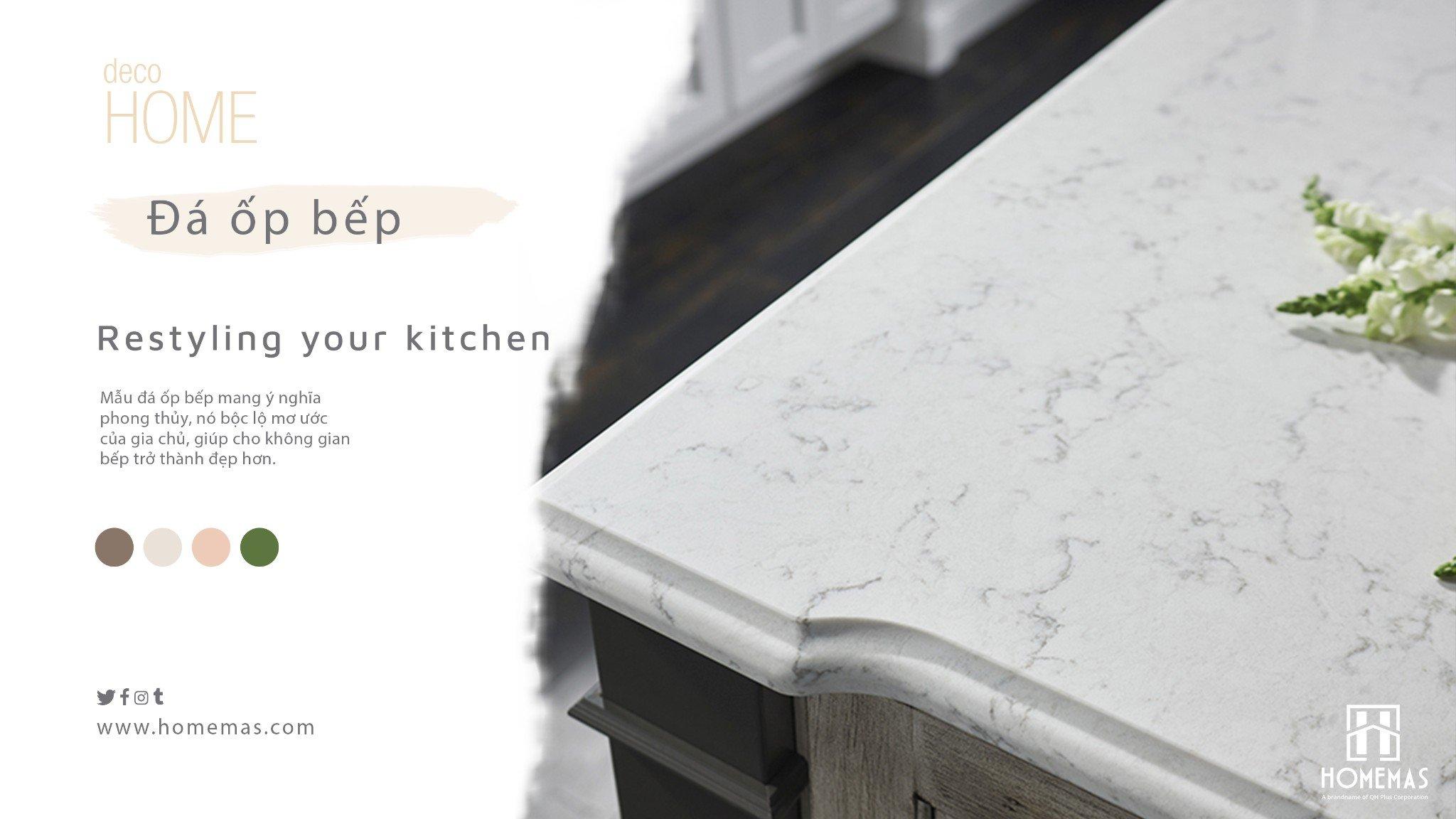 Chọn đá ốp bếp trắng vân mây để trang trí nhà bếp