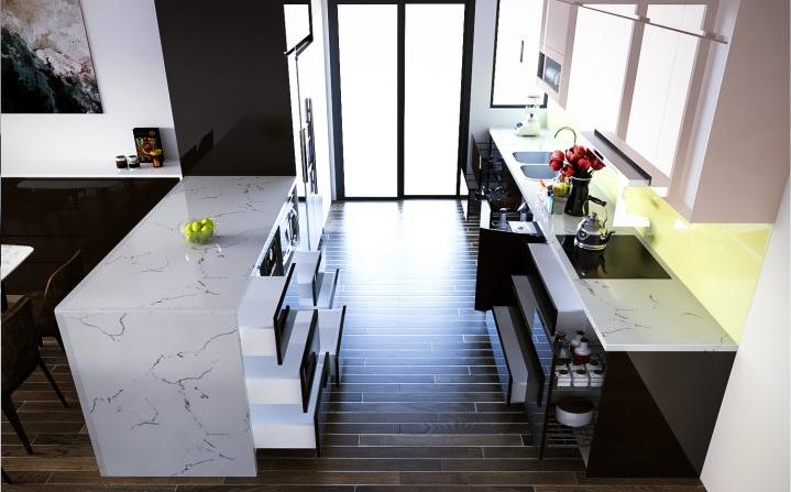 Trang trí nhà bếp đơn giản mà đẹp với mẫu kệ bếp song song