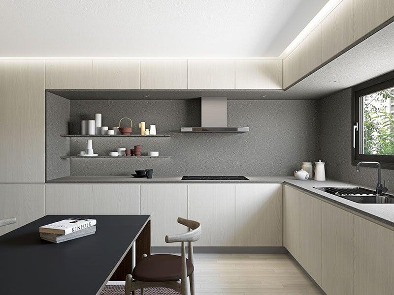 Không gian ngăn nắp đơn giản với đá nhân tạo HI-MACS LG HAUSYS mã W022 khi ứng dụng phong cách tối giản vào không gian bếp