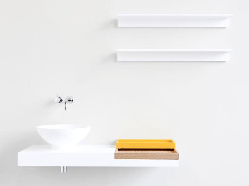 Đơn giản nhưng không kém phần hiện đại với bàn liền lavabo sử dụng đá solid surface LG Hausys mã S028 và S026
