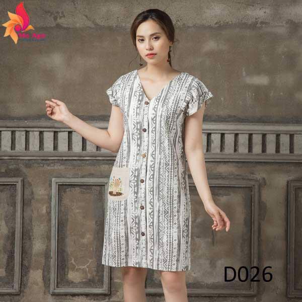 Đầm Linen thêu túi