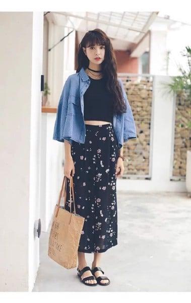 áo khoác jeans mặc ngoài váy