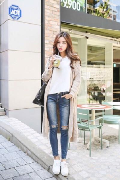 áo len dài tối giản cho mùa thu