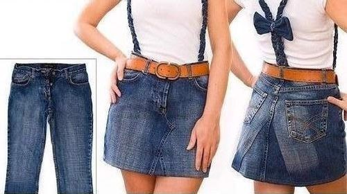 chiếc vay sành điệu làm từ quần jean cũ