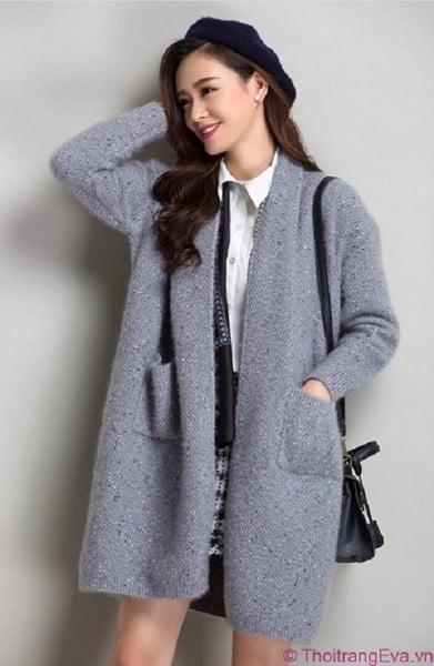 phối đồ với áo khoác len dáng dài cực hot