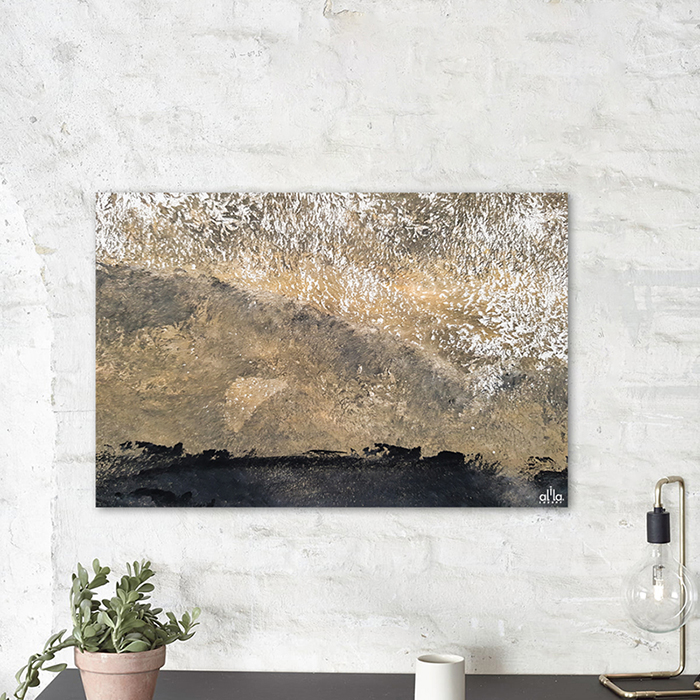 Tranh Canvas Black And Gold Abstract Alila