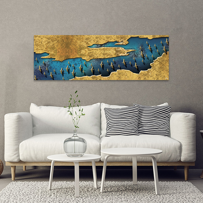 Tranh Canvas Blue And Gold Abstract Alila
