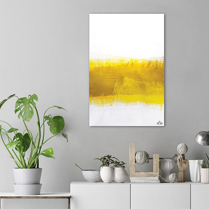 Tranh Canvas Yellow And White Abstract Alila