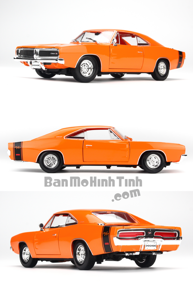Mô hình xe Dodge Charger R/T 1969 1:18 Maisto Orange