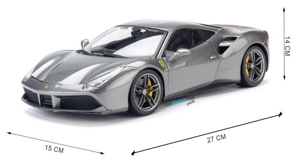 Mô hình xe Ferrari 488 GTB Grey 1:18 Bburago Signature