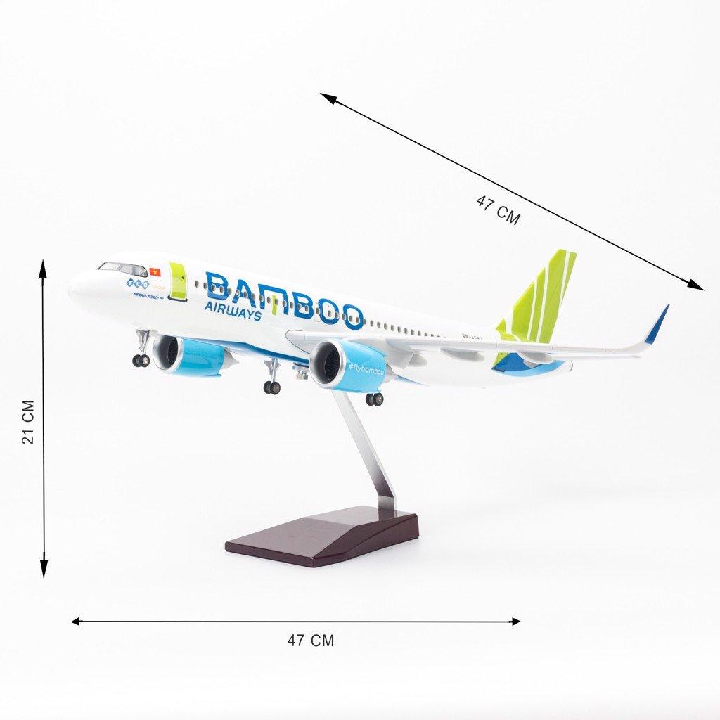 Mô hình máy bay lắp ráp có đèn led Bamboo Airways Airbus A320 47cm Everfly VG407