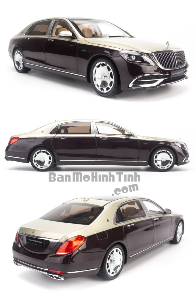 Mô hình xe sang Mercedes-Benz Maybach S650 2019 1:18 Almost Real Ruby Black/ Aragonite Silver