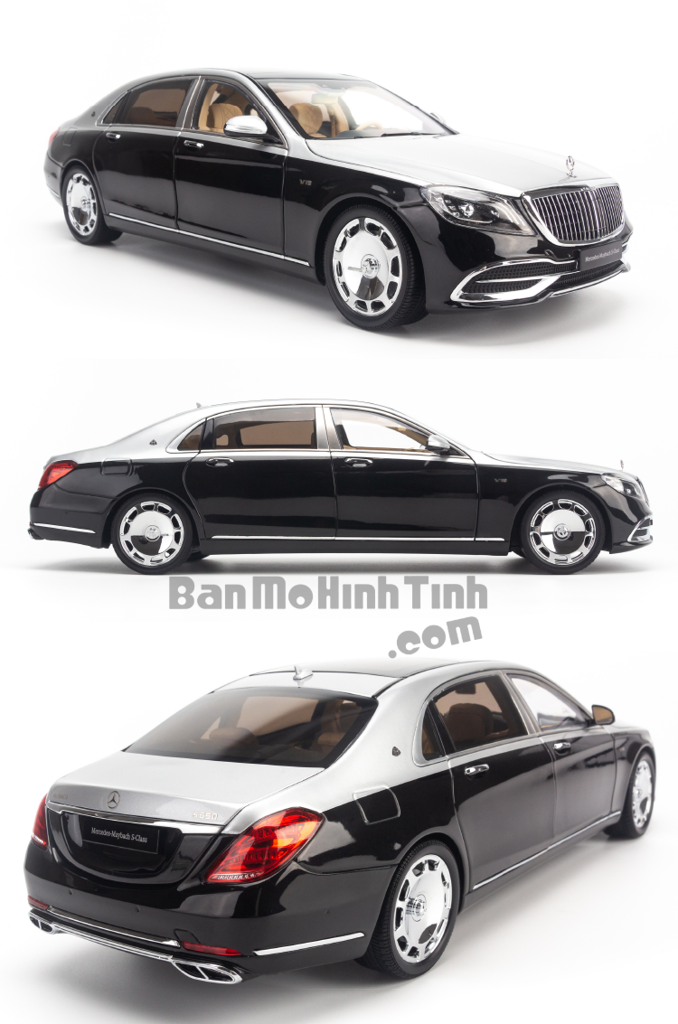 Mô hình xe sang Mercedes-Benz Maybach S650 2019 1:18 Almost Real Obsidian Black / Iridium Silver