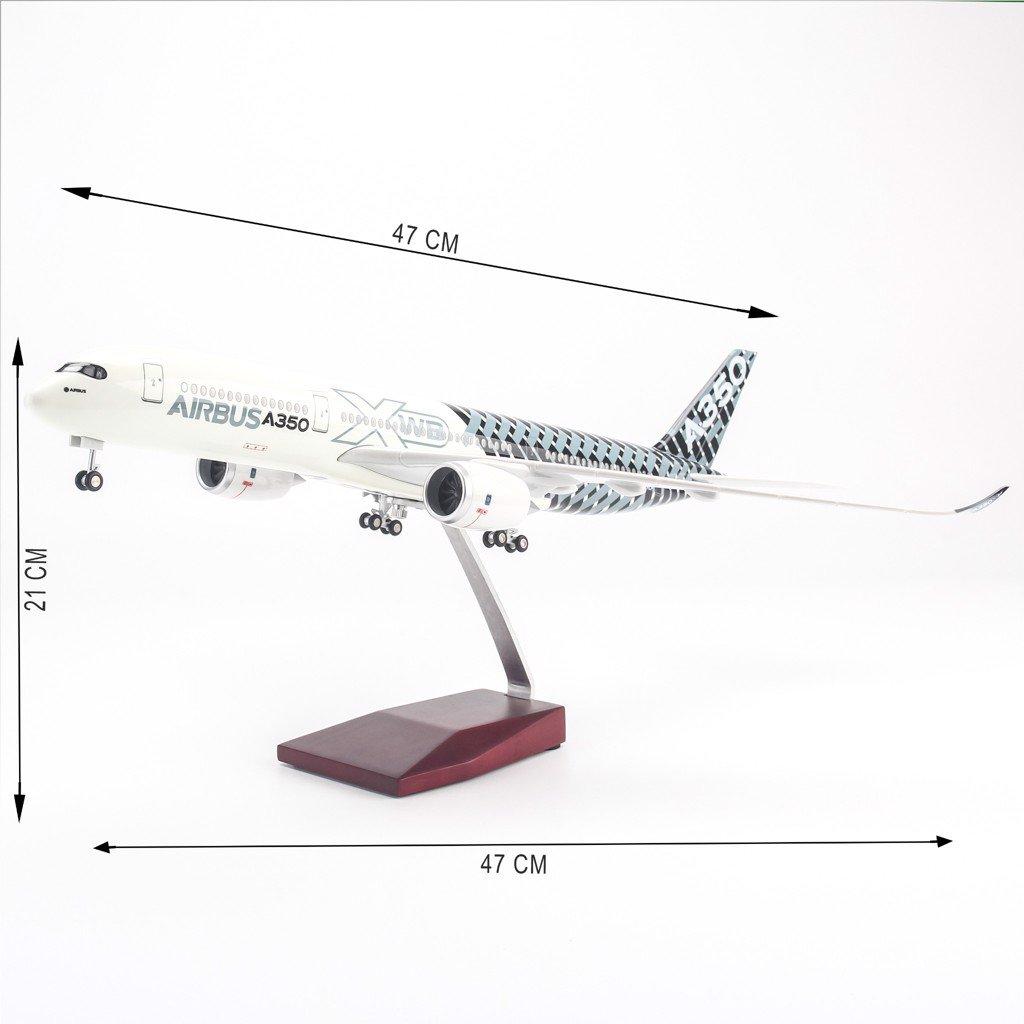 Mô hình máy bay lắp ráp có đèn led Original Striped Airbus A350 47cm Everfly