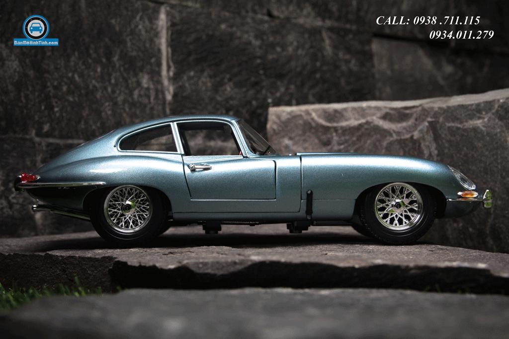 Mô hình xe Jaguar E-Type Coupe 1:18 Bburago Silver/Blue
