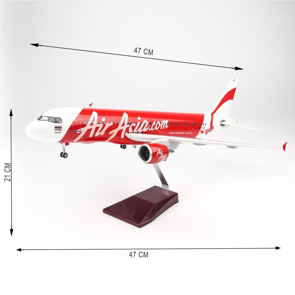 Mô hình máy bay lắp ráp có đèn led Air Asia Airbus A320 47cm Everfly