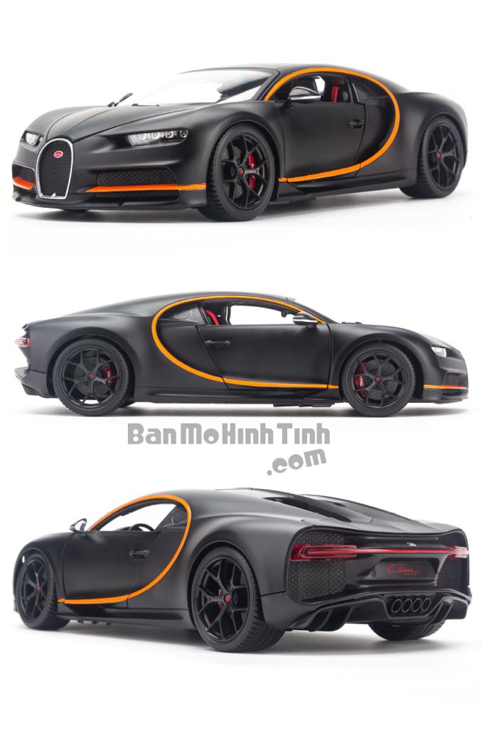 Mô hình xe Bugatti Chiron 42s Version 1:18 Bburago Matte Black