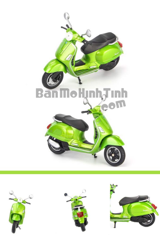 mô hình xe máy vespa gts 125cc 2017 1:18 welly green