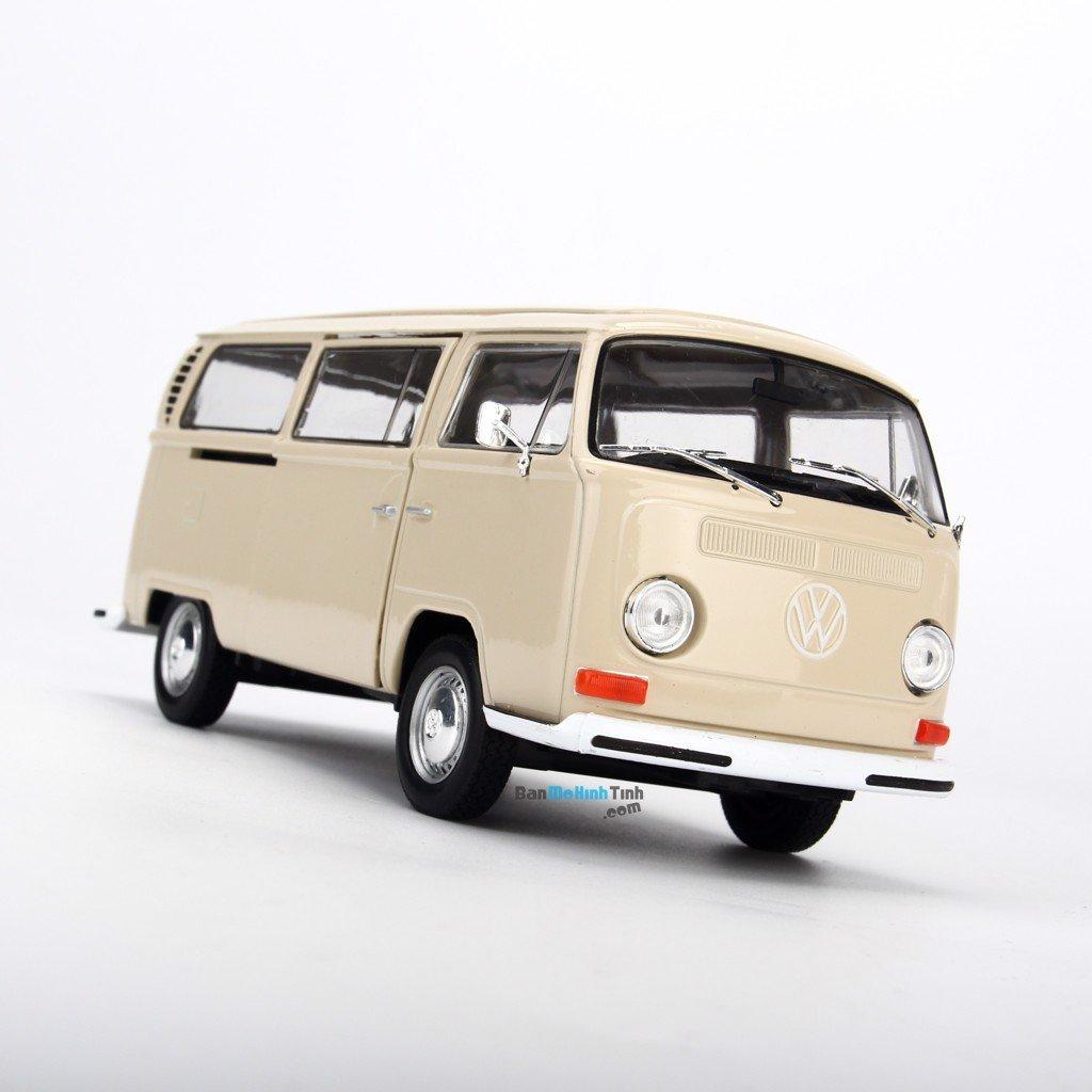 Mô hình xe 1972 Volkswagen Bus T2 1:24 Welly Cream