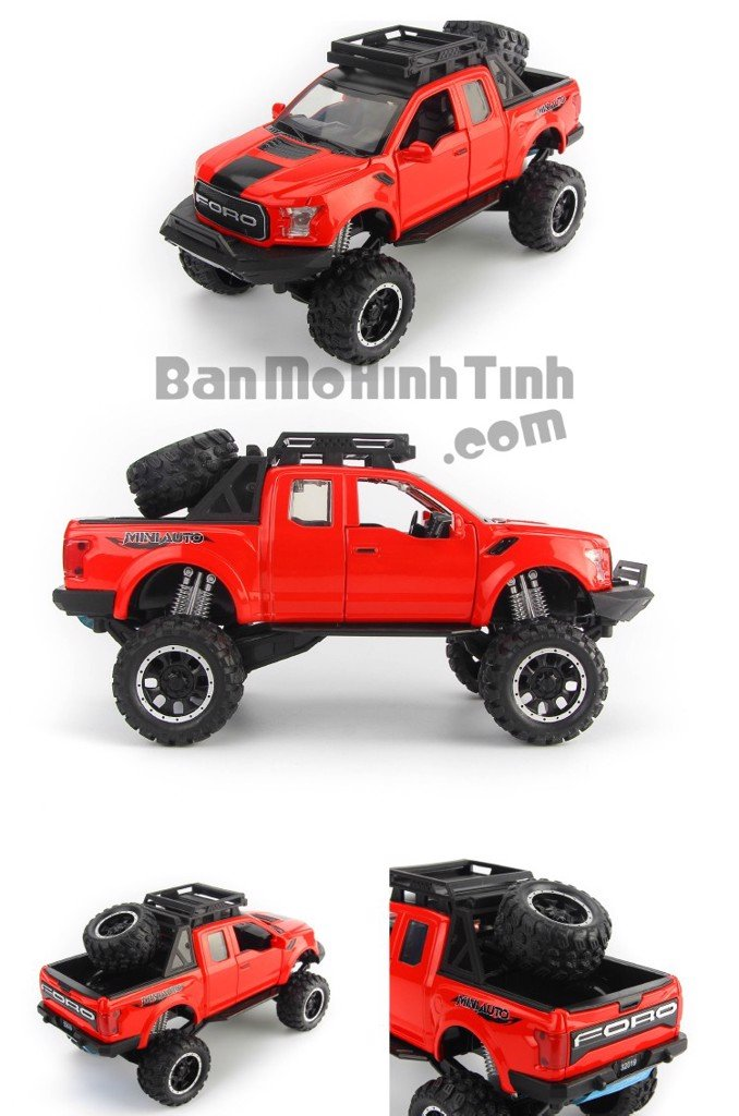 Mô hình xe Ford F-150 Raptor Off-Road Kings 2017 Red 1:32 Miniauto