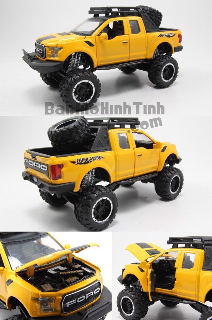 Mô hình xe Ford F-150 Raptor Off-Road Kings 2017 Yellow 1:32 Miniauto