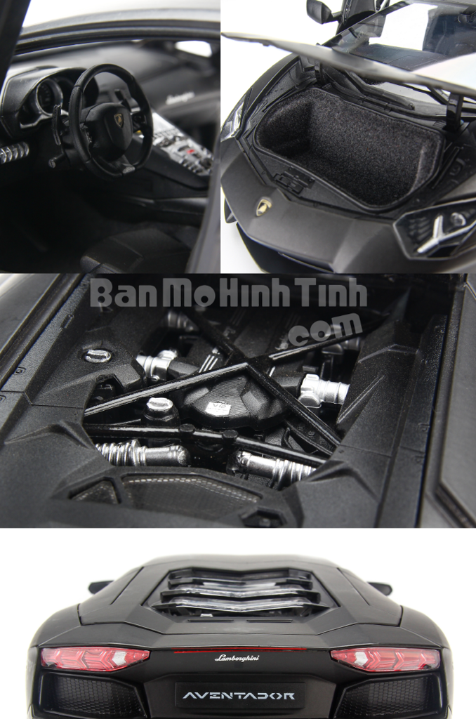 Mô hình xe Lamborghini Aventador LP700-4 Matte Black 1:18 Welly-FX