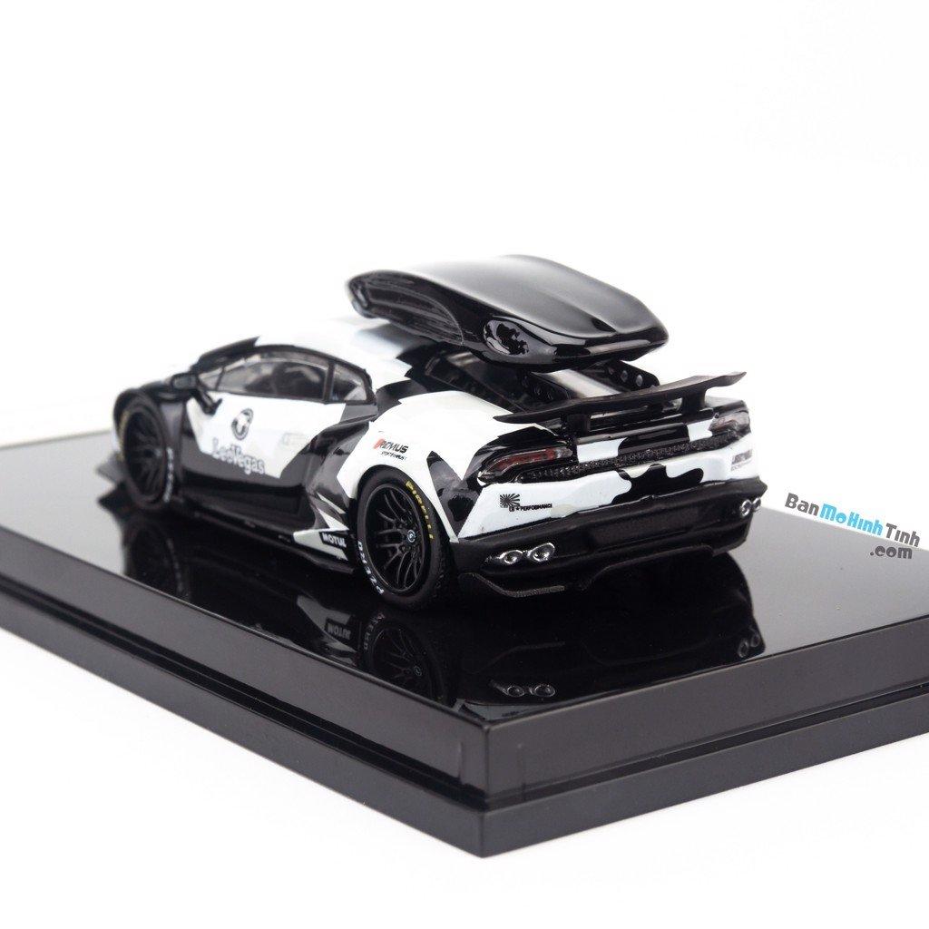 Mô hình siêu xe Lamborghini Huracan LeoVegas 1:64 JEC white/black