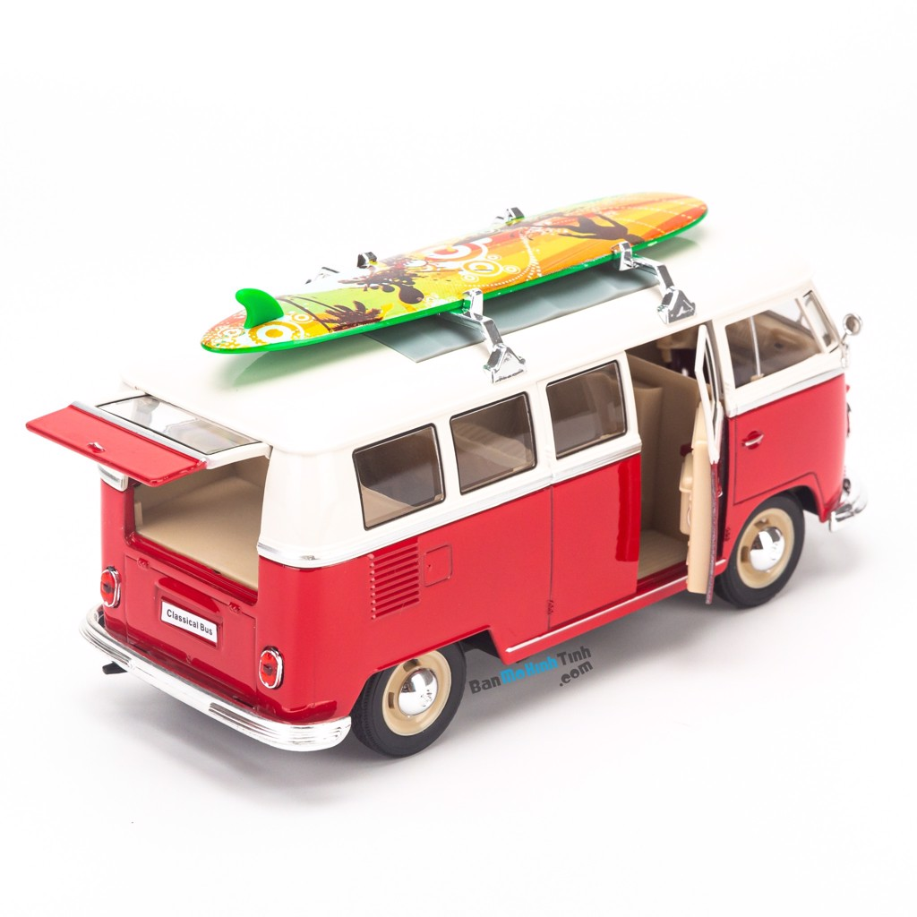 Mô hình xe Volkswagen T1 Bus (1963) With Surf Board 1:24 Welly