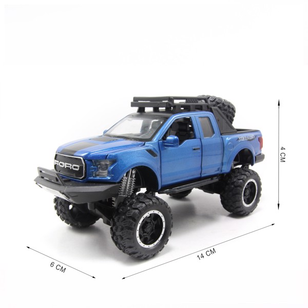 Mô hình xe Ford F-150 Raptor Off-Road Kings 2017 Blue 1:32 Miniauto