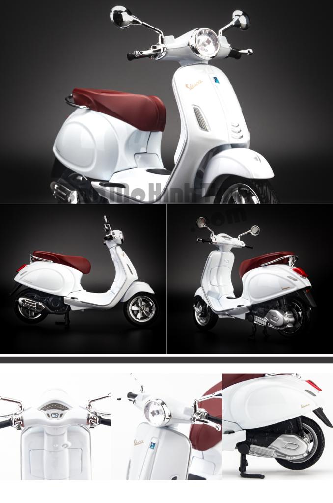 mô hình xe máy vespa primavera 150 1:12 maisto white