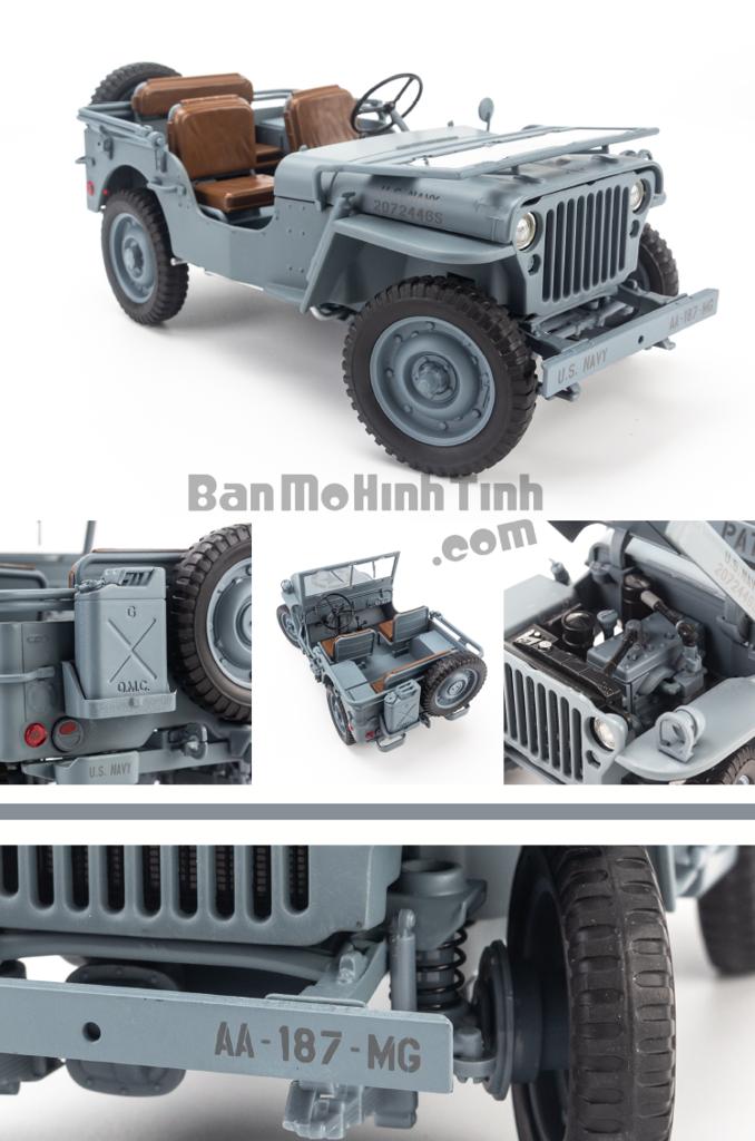 Mô hình xe quân sự Jeep 1941 Willys Convertible 1:18 Welly Navy