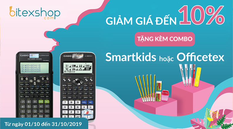 Mua may tinh casio tang kem combo smartkids - officetex