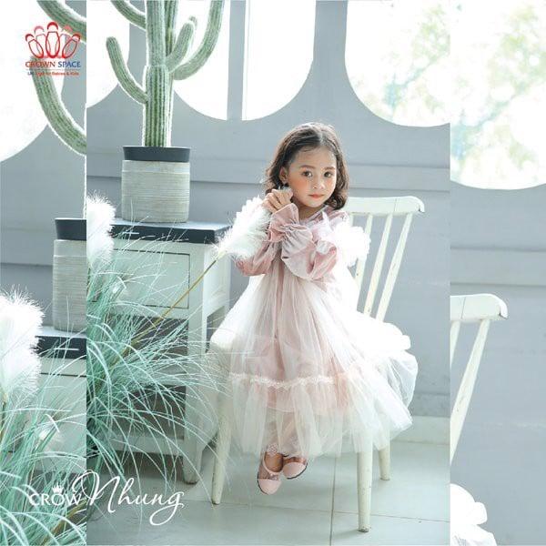 váy công chúa màu hồng crown kid