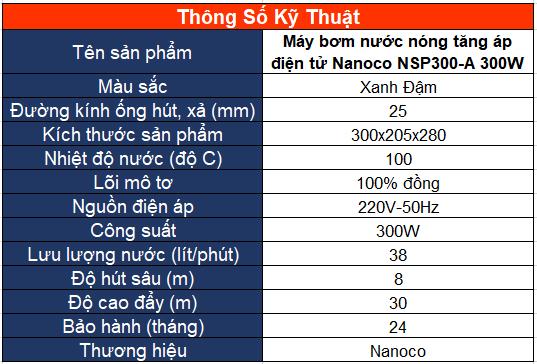 Máy bơm nước nóng tăng áp điện tử Nanoco NSP300-A 300W