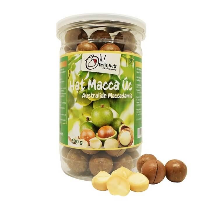 Hạt Macca Úc nứt vỏ nướng Smile Nuts hộp 500g